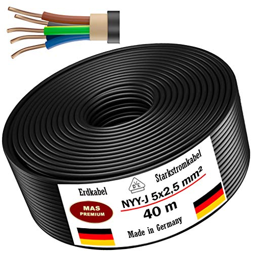Erdkabel Stromkabel 5, 10, 15, 20, 25, 30, 35, 40 oder 50m NYY-J 5x2,5 mm² Elektrokabel Ring zur Verlegung im Freien, Erdreich (40m)