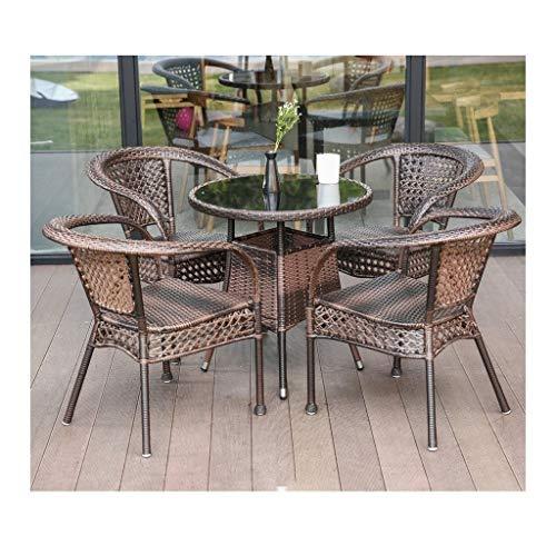 Muebles de vida al aire libre Patio Muebles de jardín Muebles Liquidación Patio Rattan Mesa de comedor Juego de Tejido de mimbre Mesa de café Patio conversación al aire libre (de 4 piezas Conjunto Sil