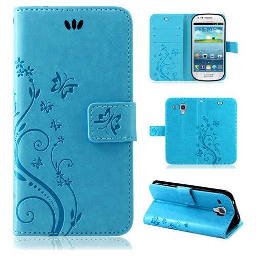 betterfon | Flower Case Handytasche Schutzhülle Blumen Klapptasche Handyhülle Handy Schale für Samsung Galaxy S3 Mini Blau