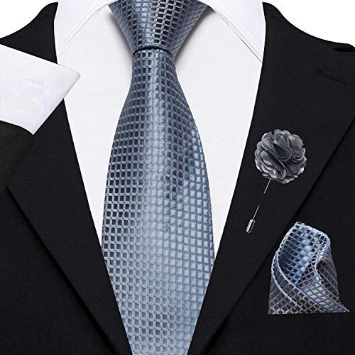 Axlon Men's Micro Polyester Necktie Set with Pocket Square and Brooch Pin (Grey , Free Size)
