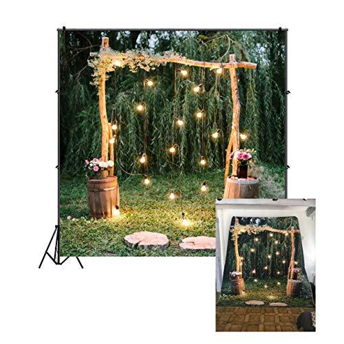 Cassisy 1,8x1,8m Vinilo Boda Telon de Fondo Al Aire Libre Ceremonia de la Boda Arco de la Boda Fiesta de los bosques Fondos para Fotografia Los Amantes Photo Studio Props Photo Booth