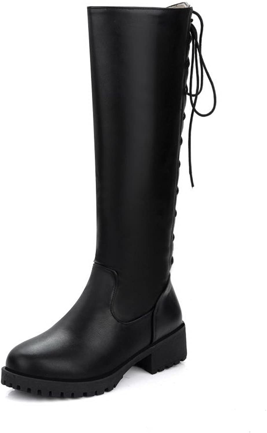 AllhqFashion Women's Pu High Top Solid Zipper Low Heels Boots