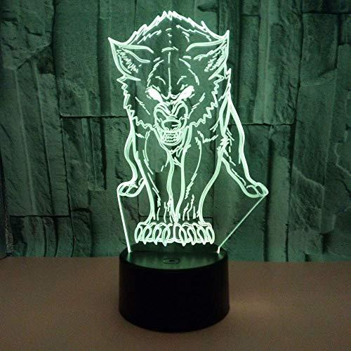 MQJ Animal Lobo 3D Led Ilusión Lámpara Noche Luz Óptica Mesita de Noche Noche Luces de Noche 16 Colores Cambiando el Botón Táctil Decoración de la Decoración Lámparas de Escritorio,