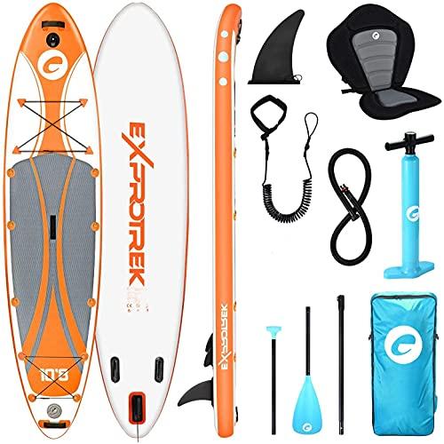 Exprotrek Stand Up Paddling Board - Tabla de SUP hinchable, juego de tabla de stand up paddle, con paleta de aluminio, asiento de kayak y accesorios completos (100 kg MAX)