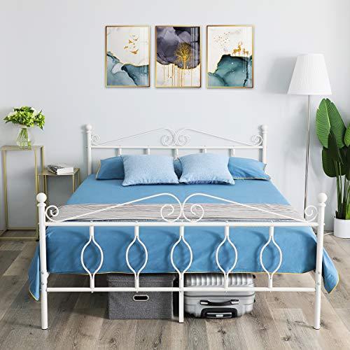 Aingoo Doppelbett Metallbett mit Lattenrost Bettrahmen Kopfteil Gästebett Jugendbett Ehebetten Double Bed Weiß