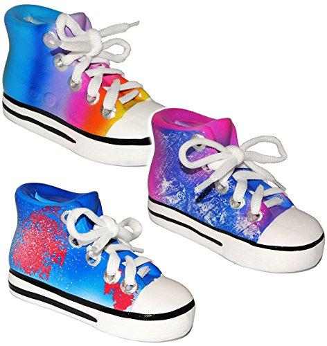 alles-meine.de GmbH 1 Stück _ Spardose -  Schuh Sneaker / Sportschuh - 3-D Effekt  - mit echten Schnürsenkel ! - für Kinder & Erwachsene / Mädchen - lustig witzig - Shopping Sc..