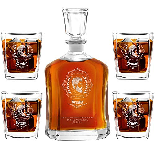 Murrano Whiskey Karaffe + 4er Whiskygläser Set mit Gravur - 700ml Whisky Dekanter - Geschenk zum Geburtstag für Männer - Bruder