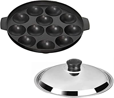 BMS Lifestyle Non-Stick 12 Cavity Heavy Weight Appam Patra with Lid, Color May Vary