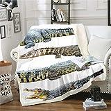 Erosebridal Teens Crocodile Fleece Blanket, Alligator Pattern Throw Blanket for Kids Boys Girls Teens Wildlife Animal Plush Bed Blanket Twin Size Exotic Sherpa Throw Flannel Blanket