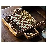 HJHJ ajedrez Creativo Juego De Ajedrez 11.8x11.8 Juego De Ajedrez De Madera Juego De Mesa Estándar con Cajón De Almacenamiento De Ajedrez para Niños Regalos de ajedrez (Color : Medium Chess Set)