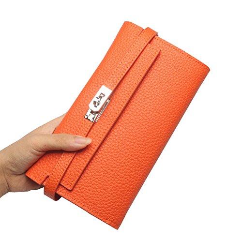 BAIGIO Portafoglio in Vera Pelle con Zipper Interno Portafoglio lungo da Donna Modello Elegante e Moderno Stile Casual e Business per Smartphone (Arrancio)