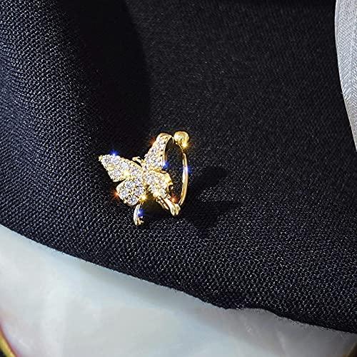 Korean New Zircon Butterfly Earrings For Women Cute Fake Piercing Punk Statement Clip On Earrings Fashion Jewelry Ear Cuffs C