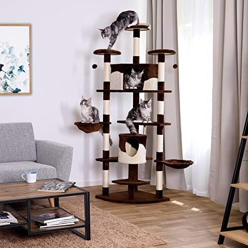 Kratzbaum (als Eck-Kratzbaum geeignet) für Katzen, Katzenkratzbaum, Höhe 200 cm (braun / beige) - 6
