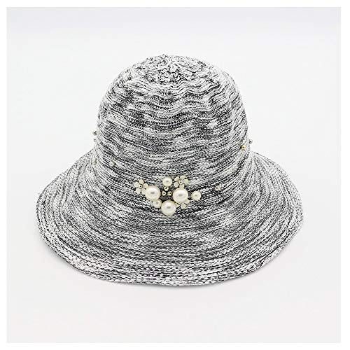 Xuguiping dames zonnehoed mode vouwen emmer pet sjaal strandbruiloft zomer eenkleurig parel 56/58 cm 3