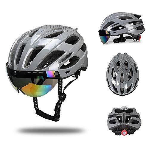 GONGMICF Fahrradhelm BMX Fahrradhelm Herren Damen Sport Helm Leichter und atmungsaktiver Mountainbike-Helm mit Einstellbarer Größe Rennradhelm mit Sonnenblende und Schutzbrille(55~61cm)