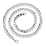 LDUDU® Collar hombre cadena acero inoxidable Largo eslabones de la cadena, acero inoxidable, color plata 55cm