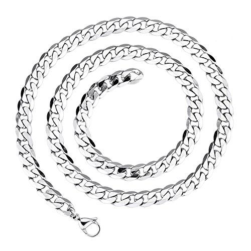 LDUDU Collar hombre cadena acero inoxidable Largo eslabones de la cadena, acero inoxidable, color plata 55cm