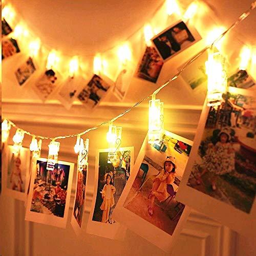 ELINKUME® LED Photo Clip catena leggera, 20 clip foto, 2.2 metri/7, 21 piedi, bianco caldo, a pile, ideale per appendere immagini, note, opere d'arte, Memo