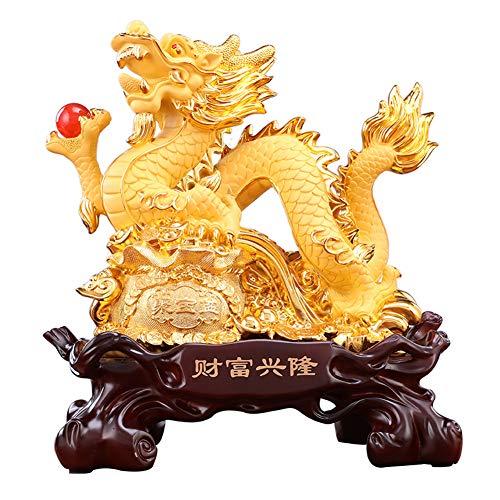 J.Mmiyi Chino Dragón Estatua Feng Shui Resina Dragón con Dragon Ball Escultura Adornos Hogar Oficina Riqueza Suerte Decorar,Oro