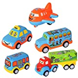 WISHKEY Unbreakable Power Friction Pull Back, Push and Go Miniature Cartoon Cars,Crawling Vehicle