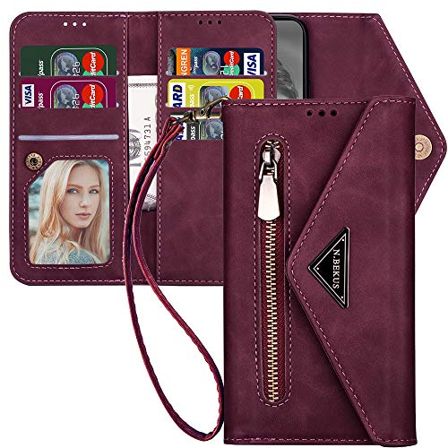 Samsung Galaxy Note 10 Wallet Case with Strap for Women,Kudex Trifold 7 Card Holder Protective Leather Flip Magnetic Zipper Purse Case with Kickstand Money Pocket for Samsung Note 10 6.3''(Wine Red)