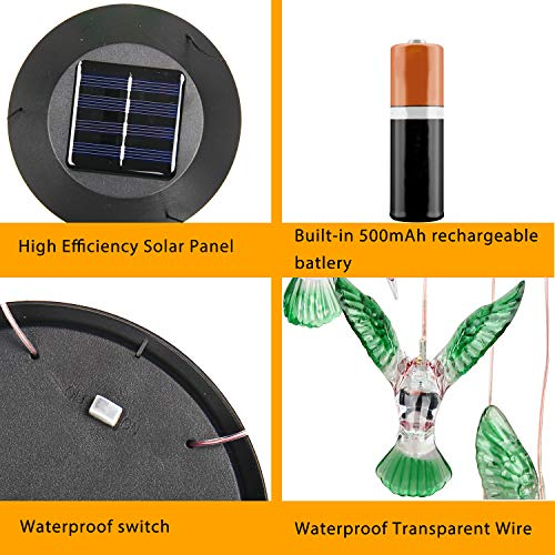 WERTIOO Solar Hummingbird Wind Chime Color Changing Solar LED String Lights Outdoor Mobile Hanging Patio Light