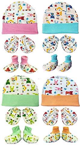 BRANDONN Newborn Baby's Cotton Mitten Set (0-6 Months) - Pack of 4