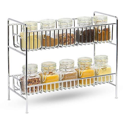 Estante de especias 2 niveles | Organizador de especias | Bastidores de cocina | Especiero de dos niveles| Estante de condimentos | M & W