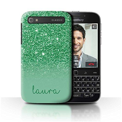 Personalisiert Hülle Für BlackBerry Classic/Q20 Individuell Glitter Effekt Grün Design Transparent Ultra Dünn Klar Hart Schutz Handyhülle Case