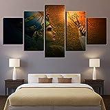 JNXFUZMG Lienzo HD Impresiones Pósteres Marco de Sala de Estar 5 Piezas Queens de Pinturas de Egipto Arte Modular Arte de la Pared Abstracto Decoración del hogar