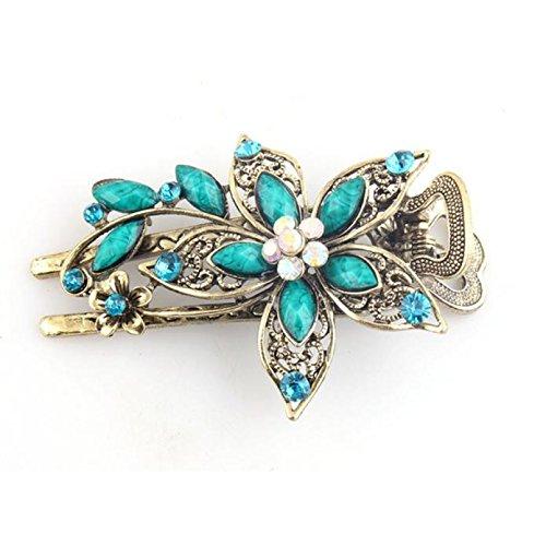 Bloodfin Agrafes de cheveux en cristal de bijoux de cru de bijoux pour des outils d'agrafe de cheveux,Épingle à cheveux en pétale Chic Élégant Cristal Épingle à Cheveux (Bleu)