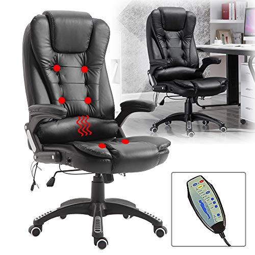 Froadp Massage Stuhl Höhenverstellbarer Massagesessel Schwarz Bürostuhl Chef Drehstuhl 360° Drehstuhl Liegesitz mit Massage Funktion 150kg Tragfähigkeit Relaxsessel
