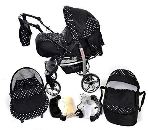 Sportive X2, 3-in-1 Travel System incl. Baby Pram with Swivel Wheels, Car Seat, Pushchair & Accessories (3-in-1 Travel System, Black & White Polka Dots)