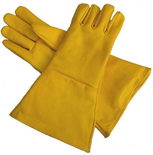 Leather Gauntlet Gloves Yellow Medium