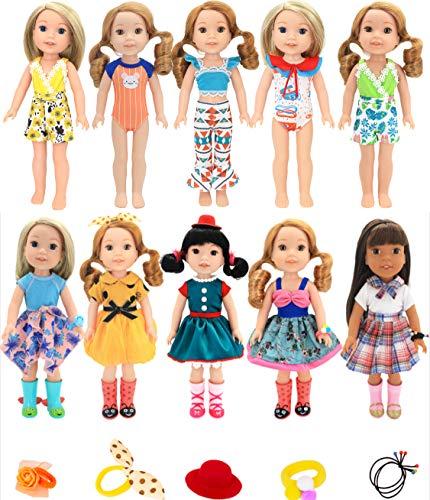 ebuddy Insgesamt 10 Sätze Amerikanische Puppe Kleiderkleid Bikini Mit 5 Stück Zubehör Für 14 bis 14,5 Zoll Puppen Wie Wellie Wishers Doll