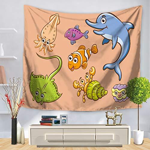 KHKJ Organismo Marino Arte Tapiz de Pared Caballito de mar Patrón de delfín Hogar Decorativo Dormitorio Manta Toalla de Playa Estera de Yoga A12 200x150cm