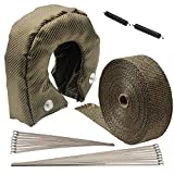 Ledaut T4 Titanium Turbo Blanket Heat Shield Cover Fiberglass Turbo Charger Cover and 2' x 50' Titanium Exhaust Heat Wrap Roll for Motorcycle Fiberglass Heat Shield Tape with Stainless Ties