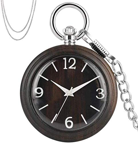 Auoeer Pocket Watch Exquisite Ebony Wood Quartz Pocket Watch Silver Necklace Pocket Chain Retro Fashioned Pendant Watches Clock Gifts