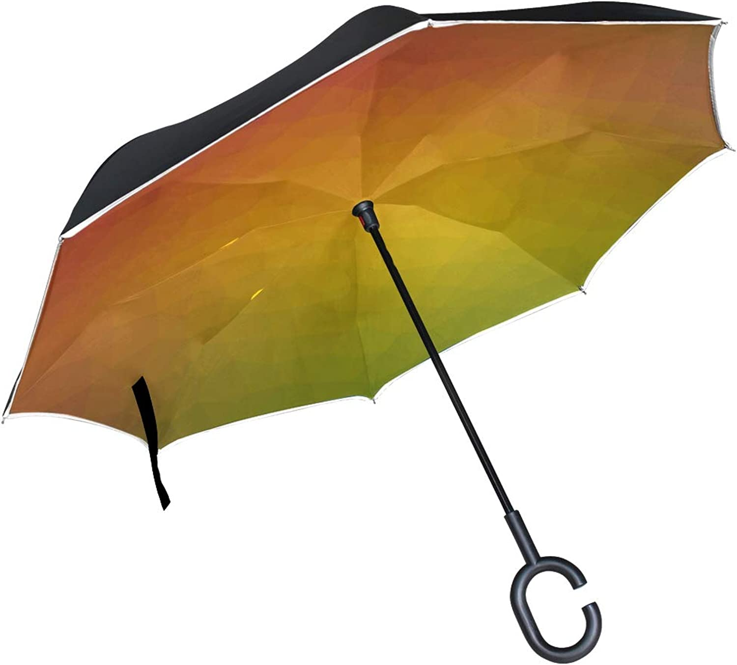 Double Layer Ingreened color Triangle Geometric Textured Shape Abstract 2174038 Umbrellas Reverse Folding Umbrella Windproof Uv Predection Big Straight Umbrella For Car Rain Outdoor With Cshaped Handle