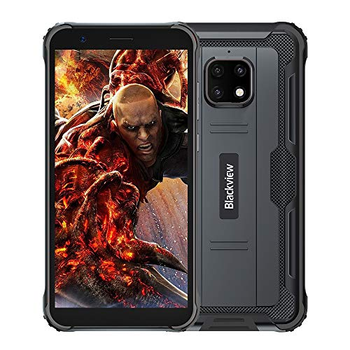 Blackview BV4900 Pro Outdoor Smartphone ohne Vertrag Günstige (4GB RAM, 64GB Speicher, Android 10, 13MP+5MP Kamera, 5580mAh, 5.7 Zoll HD+ Display, Dual SIM, NFC, OTG) IP68 Wasserdicht Handy Schwarz