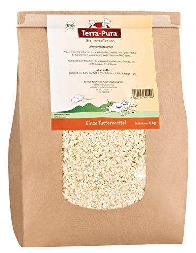 TERRA-PURA Tiernahrung Bio Hirseflocken,Lebensmittelqualität, Ideal für Barfer, 1000 g