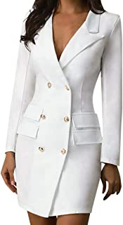 Aotifu Women Turn Down Collar Double Breasted Button Flare Sleeve OL Blazer Dresses Business Pencil Style Long Dress