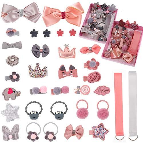 Xinzistar 36 piezas accesorios para el pelo para niñas, lazos para el pelo, lazos para el pelo, cintas para el pelo, juego de regalo para bebé, adolescente y niños