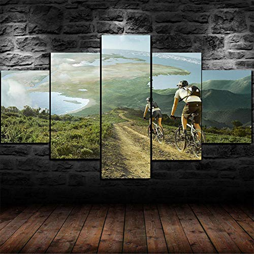 IMXBTQA Canvas Picture 5 Pieces Wall Art 125X60Cm Ready To Hang Modern Wall Art Print Decor Image Printed Art On Canvas -Cycling Race Mountain Bike Art Print Images