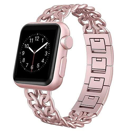 Hspcam Correa de acero inoxidable para Apple Watch Band SE 6, 5, 4, 40 mm, 44 mm, correa de metal para iWatch Series 1, 2, 3, 42 mm, 38 mm (para 42 y 44 mm, rosa rosa)