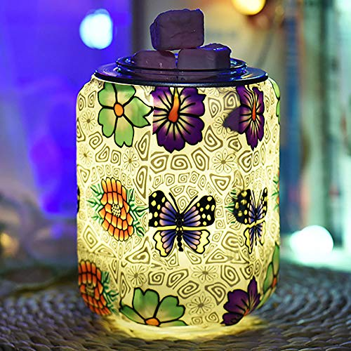 SOOTOP Glass Electric Oil Burner,3d Electric Wax Melt Burner Night Light Plug in Electric Wax Burner for Home Office Bedroom Living Room Gifts (Butterfly)