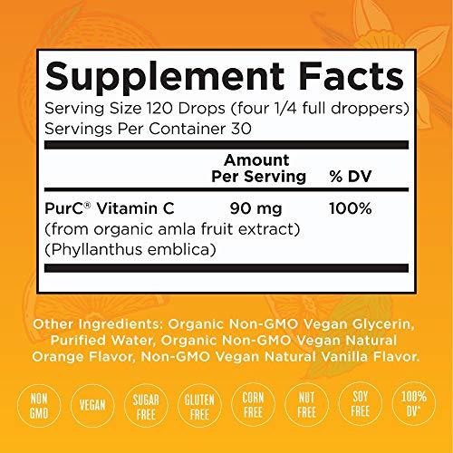 Organic Vitamin C Drops by MaryRuth's | Plant Based Liquid Immune VIT C Supplement | Safe for The Whole Family | Organic Amla Fruit | 4oz