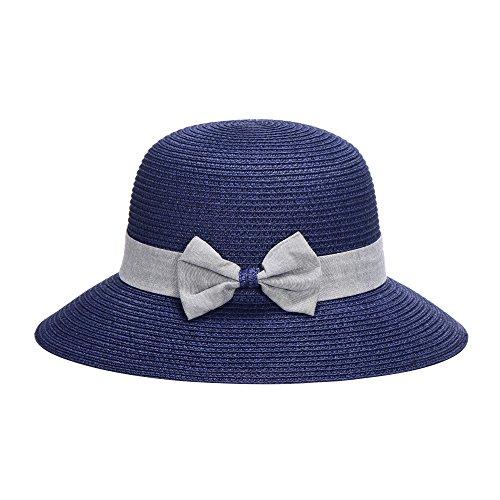 Miuno Miuno® Damen Sonnenhut Elegant Partyhut Faltbare Kappen Sonnen Schutzen (H51301-6(Blau))