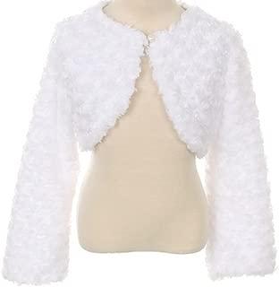 Flower Girl Jacket Shrug Swirl Pattern Faux Fur Bolero
