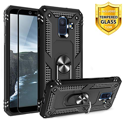 TJS Phone Case Compatible for Samsung Galaxy A6, with [Tempered Glass Screen Protector][Impact Resistant][Defender][Metal Ring][Magnetic Support] Heavy Duty Armor Drop Protector Cover (Black)